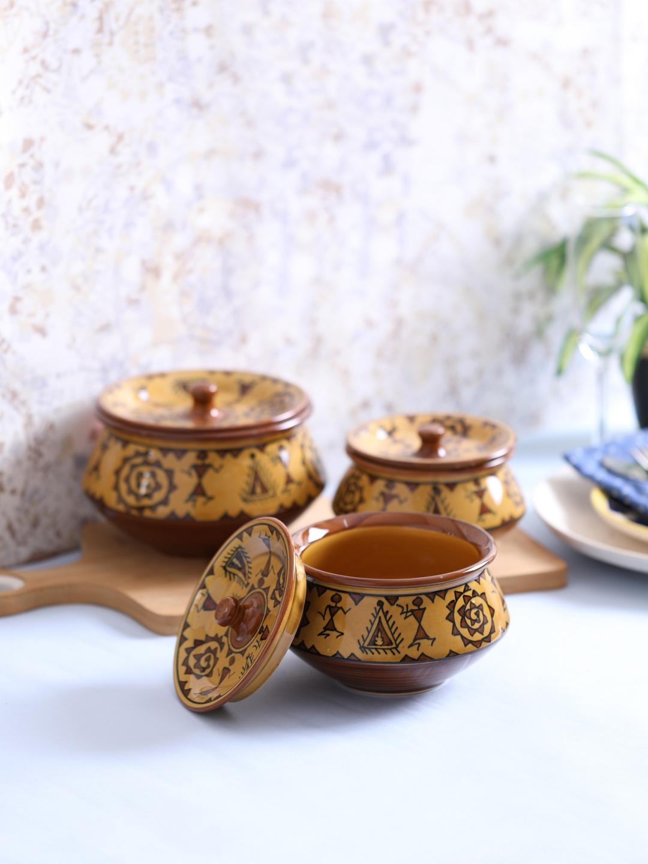 VarEesha Camel Brown Set of 3 Printed Ceramic Warli Handi Serving Bowls