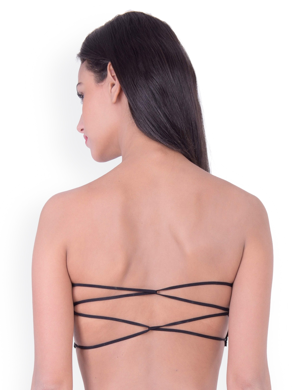 495f5f15af552 Buy PrettyCat Black Self Design Non Wired Lightly Padded Bandeau Bra ...