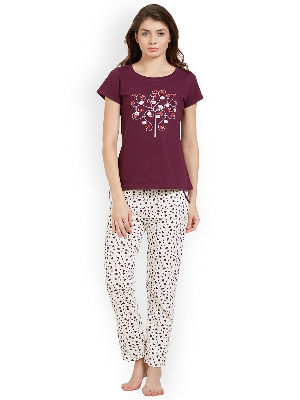 0f9c2c80932fc1 Buy Soie Women Purple   Off White Printed Night Suit - Night Suits ...