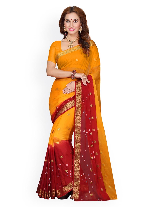 ac14c271b Buy Ishin Yellow   Red Poly Chiffon Woven Design Saree - Sarees for Women  2708032