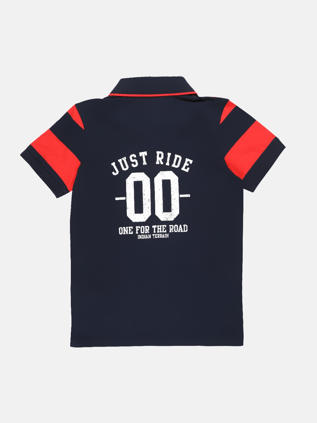 Buy Indian Terrain Boys Navy Blue & Red Striped Polo Collar T Shirt