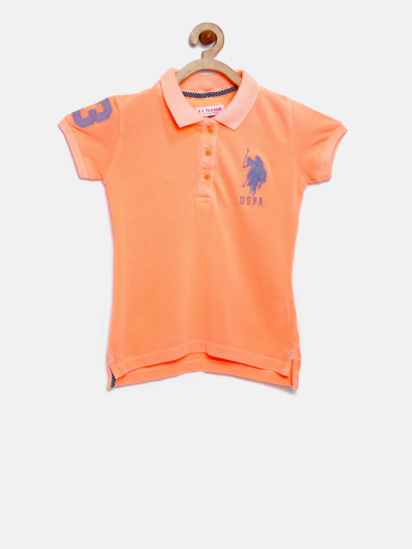 5e32465f0 Buy U.S. Polo Assn. Kids Girls Orange Polo T Shirt - Tshirts for ...