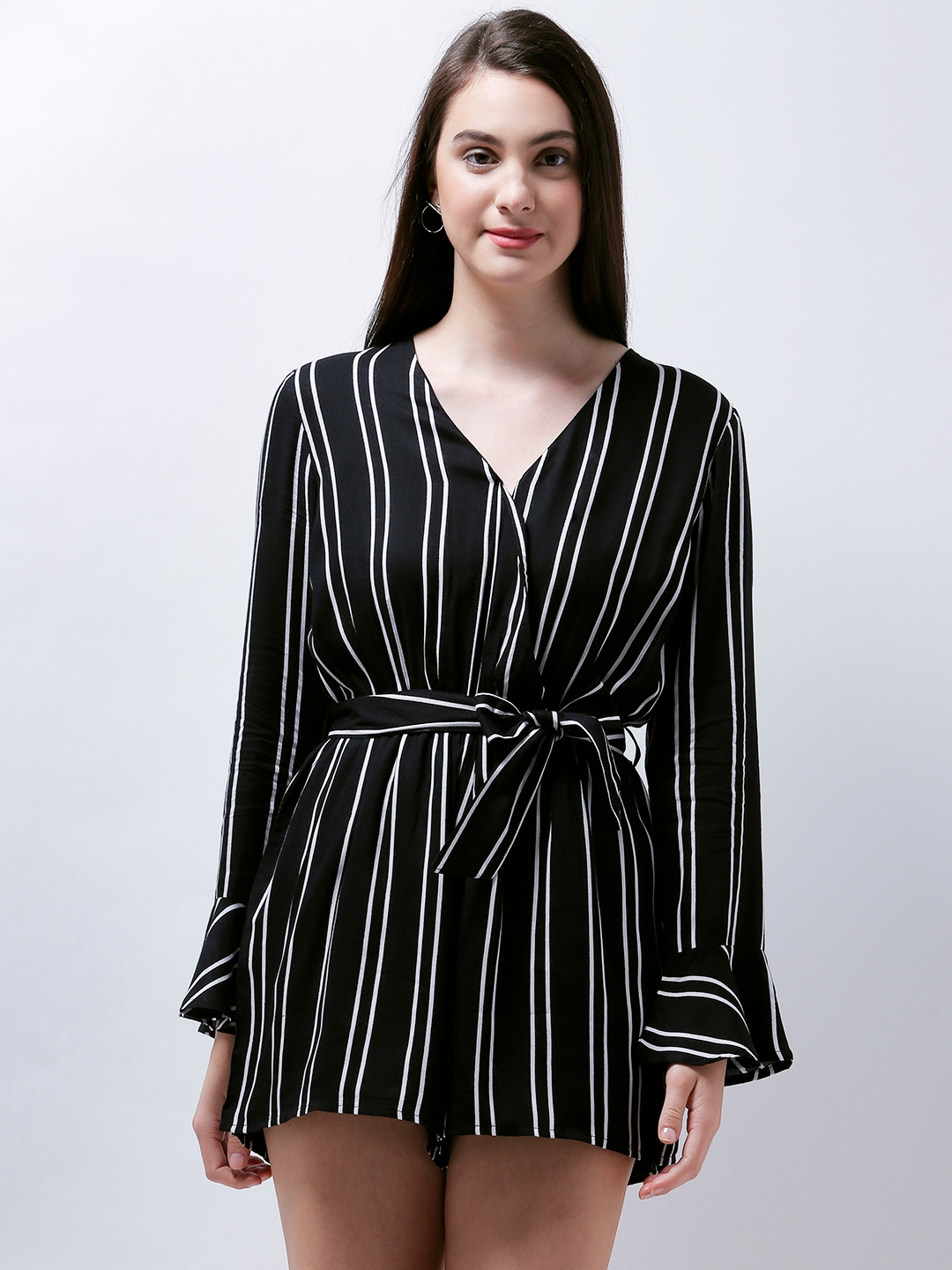 21ad17b4210c Buy Zastraa Black   White Striped Playsuit - Jumpsuit for Women 2867579