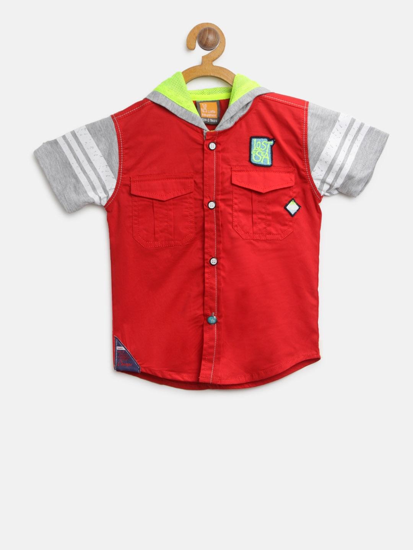 3bd494353b8c Buy Little Kangaroos Boys Red   Grey Melange Regular Fit Solid ...