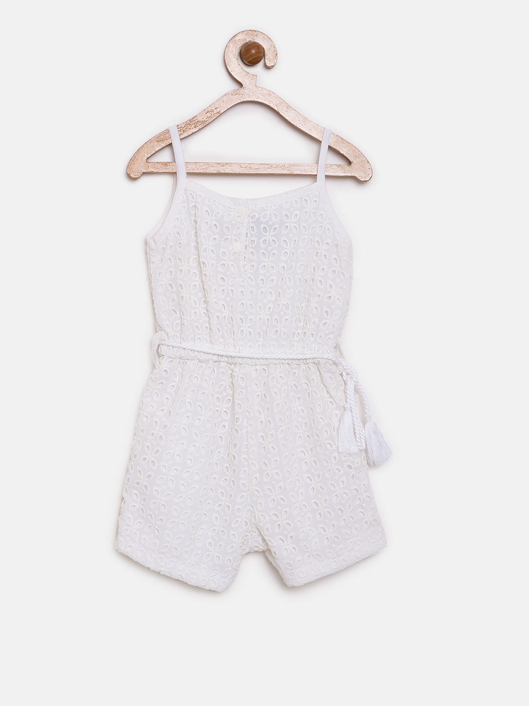 c962e7da6955 Buy Little Kangaroos White Schiffli Embroidered Playsuit - Jumpsuit ...
