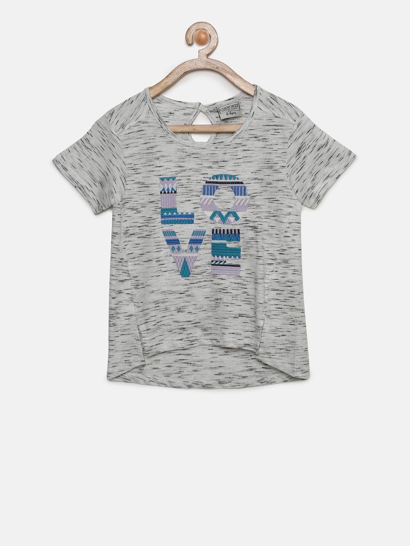 d23e57a0 Buy Cherokee Girls Grey Melange Printed Round Neck T Shirt - Tshirts ...