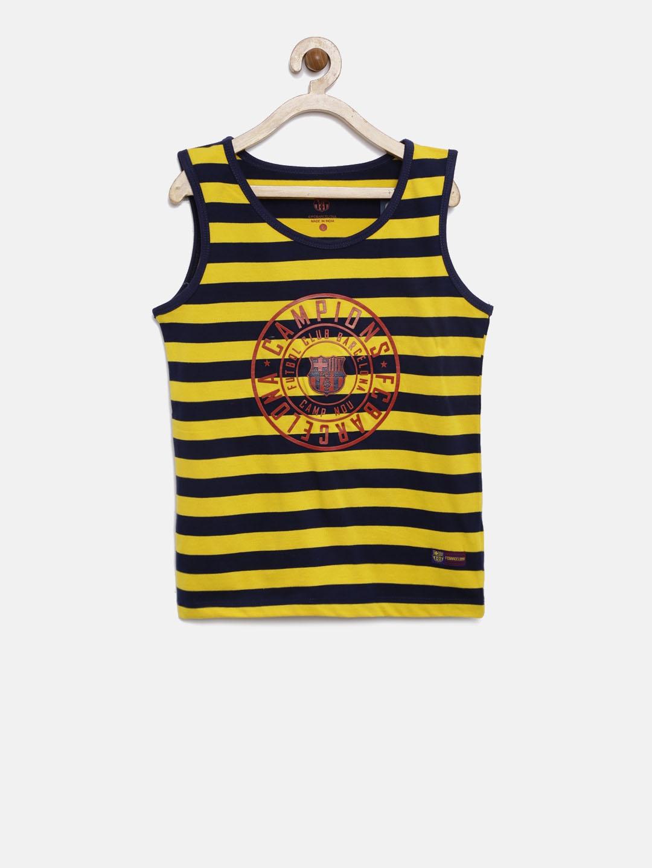 301908e8b Buy FC Barcelona Boys Yellow   Navy Striped T Shirt - Tshirts for ...