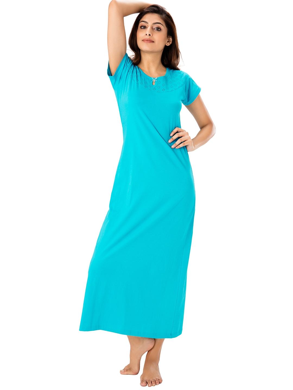 69ac41006f Buy PrettySecrets Blue Solid Nightdress - Nightdress for Women ...