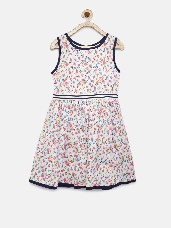 fcfe8f6c65 Buy U.S. Polo Assn. Kids Girls White Printed Fit & Flare Dress ...