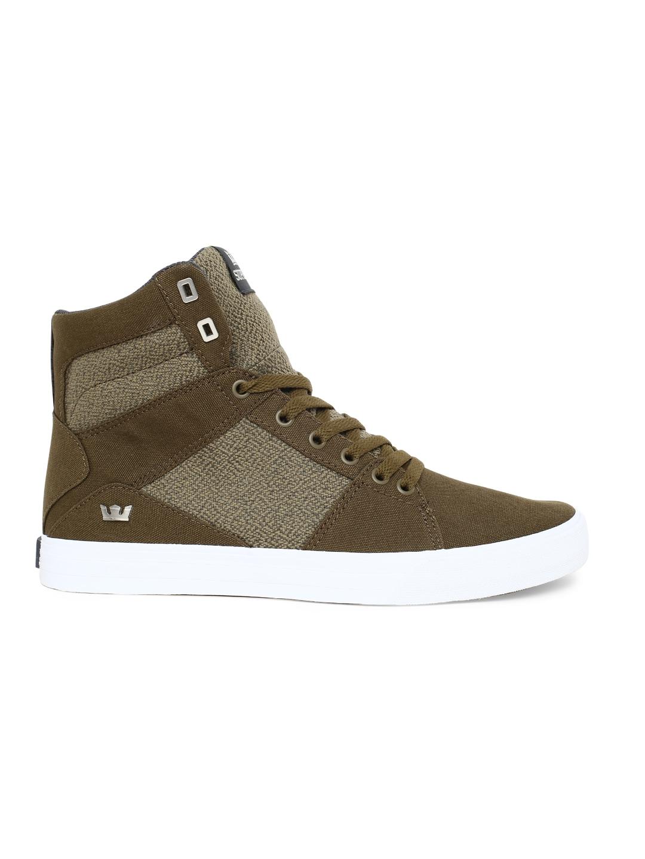 8ca8fd8c51df Buy Supra Men Olive Green Solid Canvas Mid Top Sneakers - Casual ...