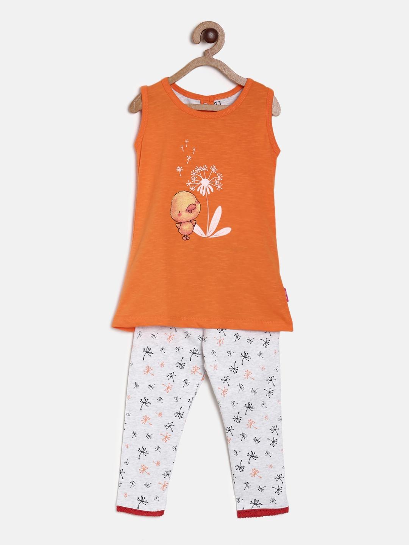 9b54ee89c5 Buy Gini And Jony Girls Orange   Off White Printed T Shirt With ...