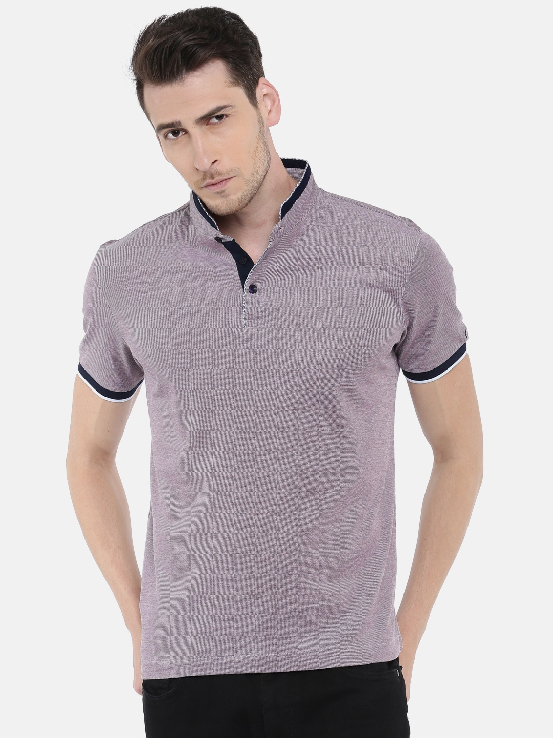 892567e4 Buy Arrow Sport Men Purple Self Design Mandarin Collar T Shirt ...