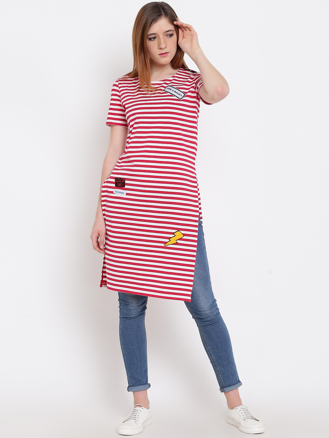01b2ccc3516ef Buy Madame Women Red   White Striped Longline Top - Tops for Women ...