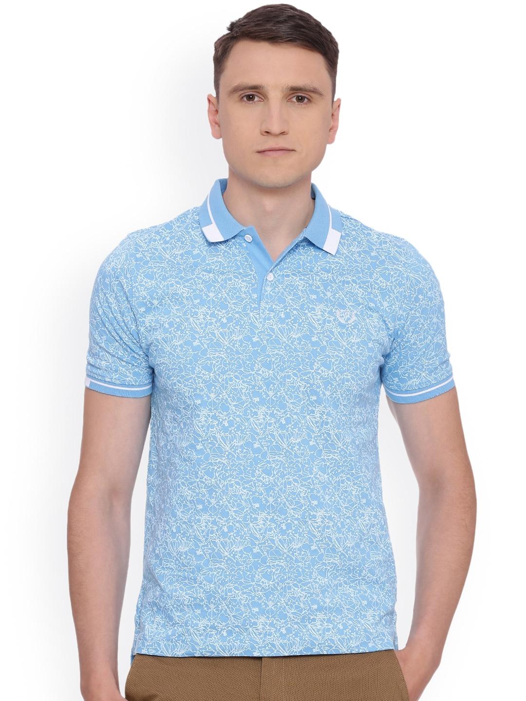 596f1a7ab Buy Van Heusen Sport Men Blue Printed Polo Collar T Shirt - Tshirts ...