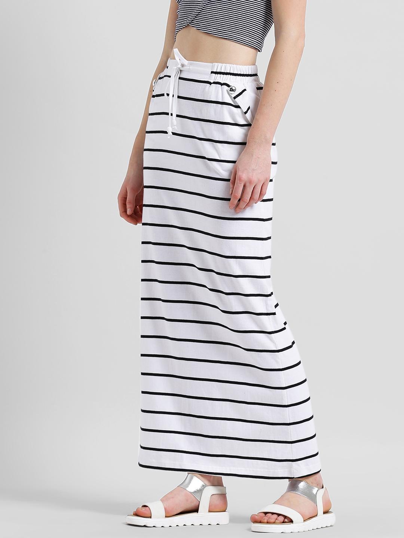99c07332b Buy Texco Women White & Black Striped Maxi Skirt - Skirts for Women ...
