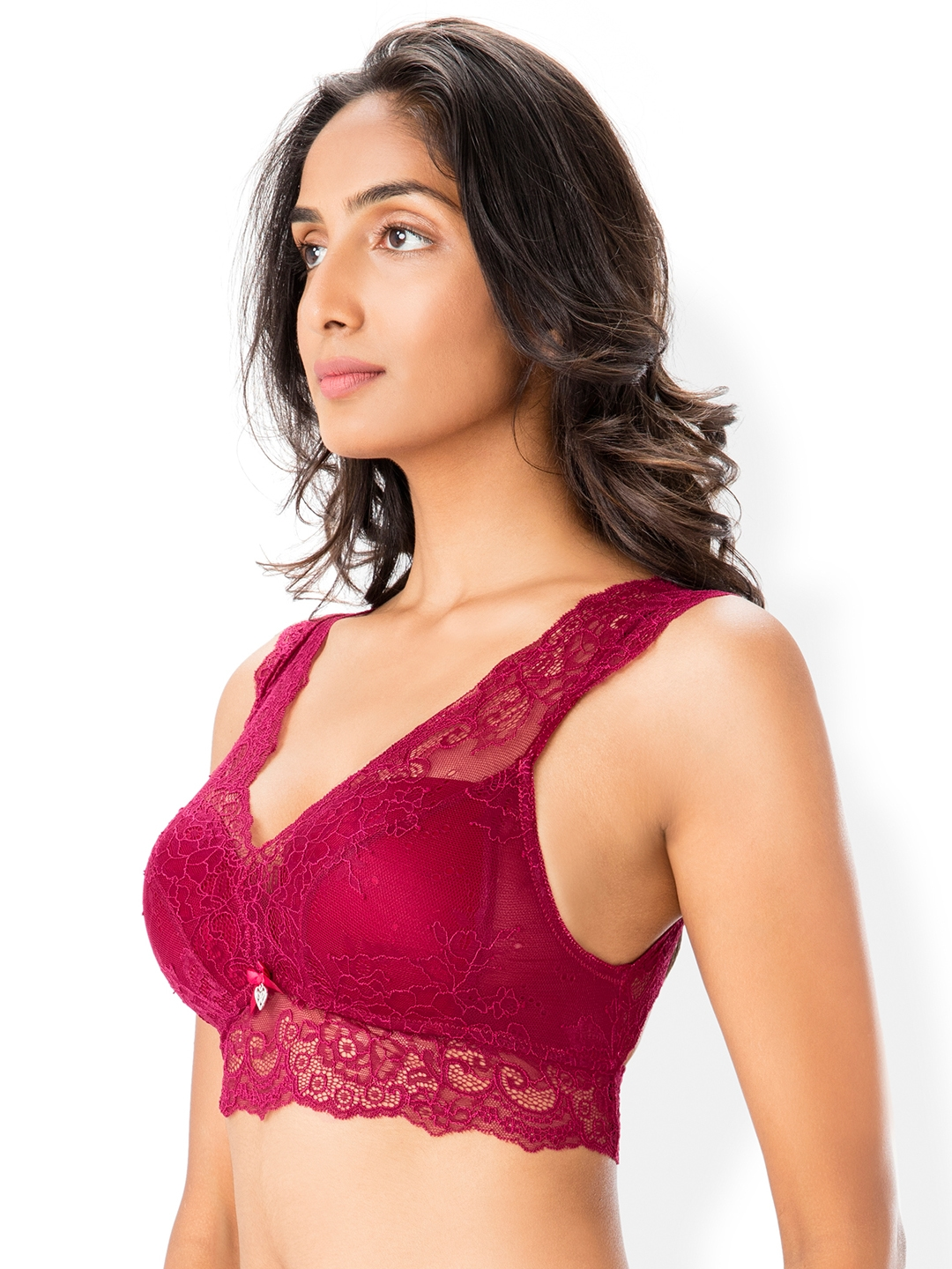 adc3b68ddc Buy PrettySecrets Maroon Lace Non Wired Lightly Padded Bralette Bra ...