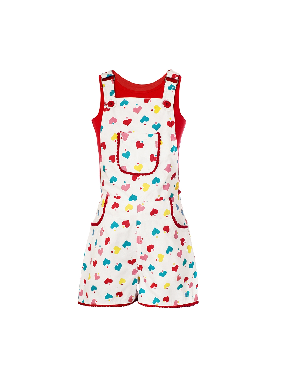 5214f0a31 Buy Naughty Ninos Girls White   Red Dungarees With T Shirt ...