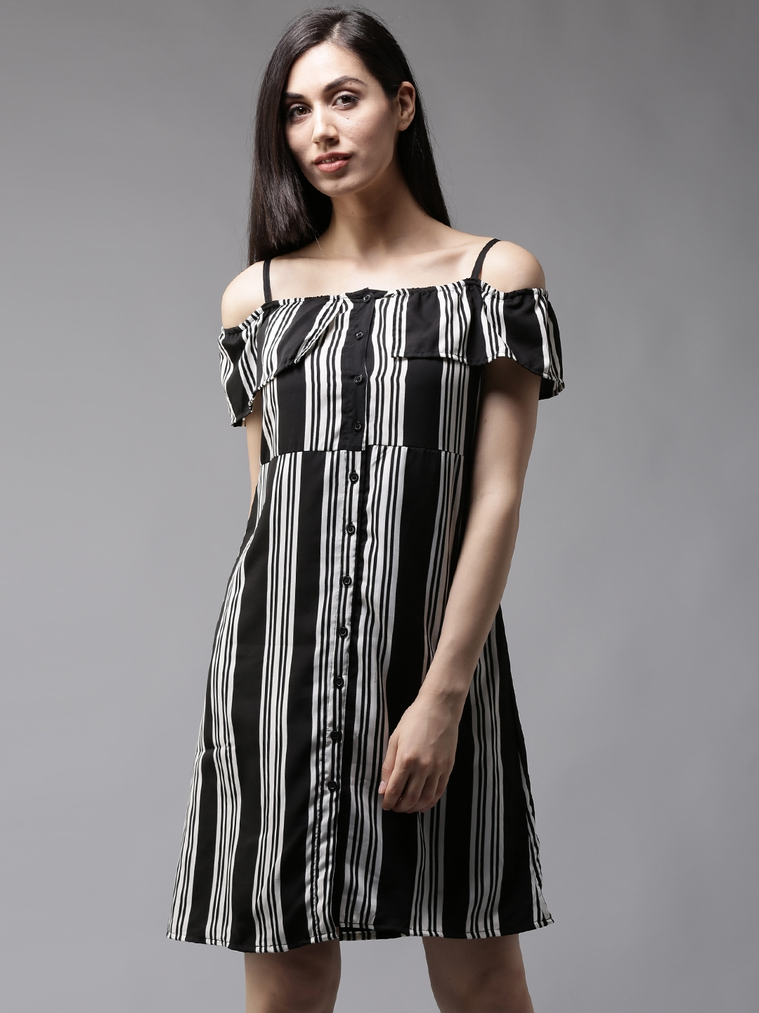 cb4aa6846a60 Buy HERE NOW Women Black   White Striped Off Shoulder A Line Dress - Dresses  for Women 3077314