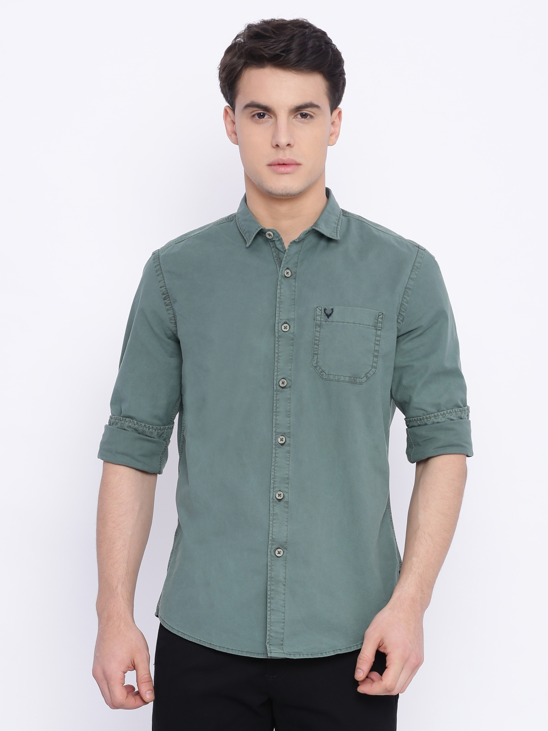 b748954f66 Buy Solly Jeans Co. Men Green Custom Slim Fit Solid Casual Shirt ...