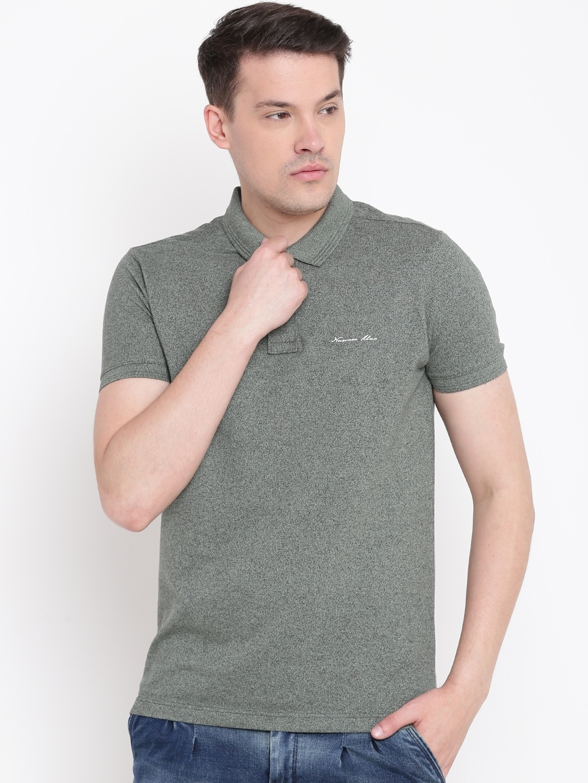 63e1f42eeb Buy Numero Uno Men Olive Green Solid Polo Collar T Shirt - Tshirts ...