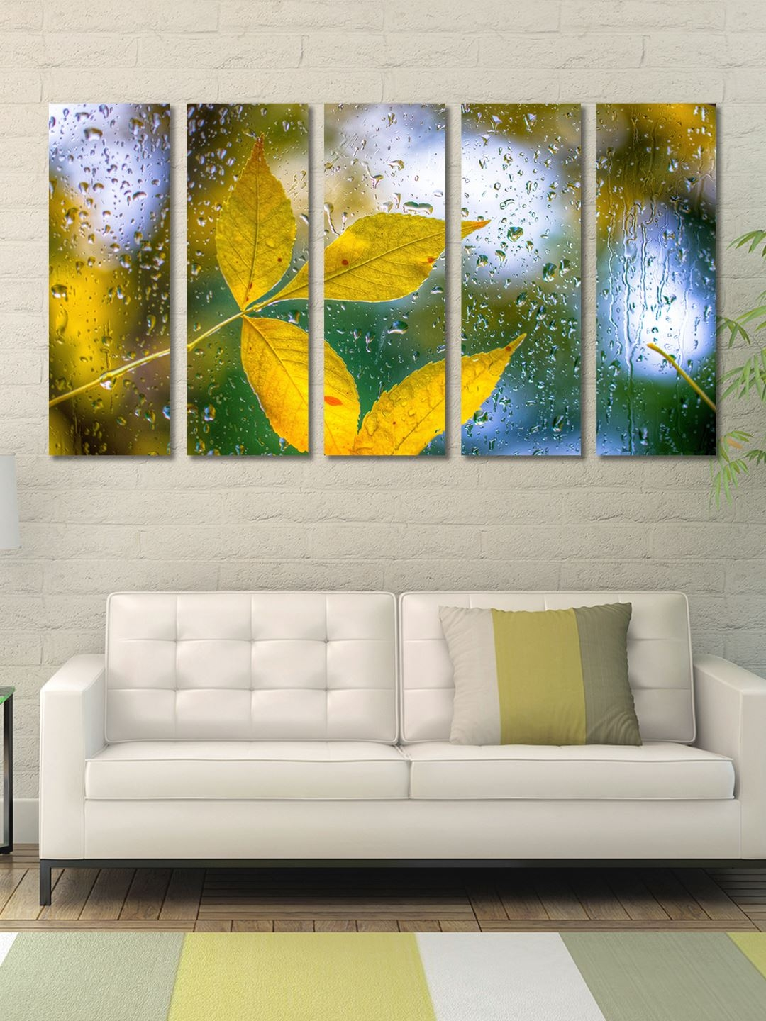 999Store Yellow   Green 5 Panel Leaves Wall Art