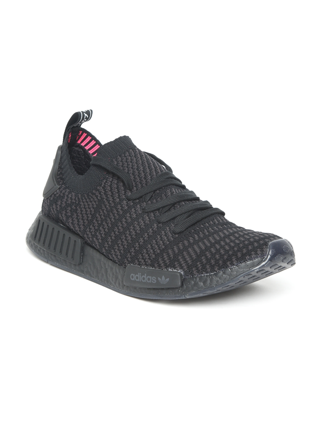 separation shoes 32753 41e2f ADIDAS Originals Men Black  Charcoal Grey NMDR1 STLT PRIMEKNIT Striped  Sneakers