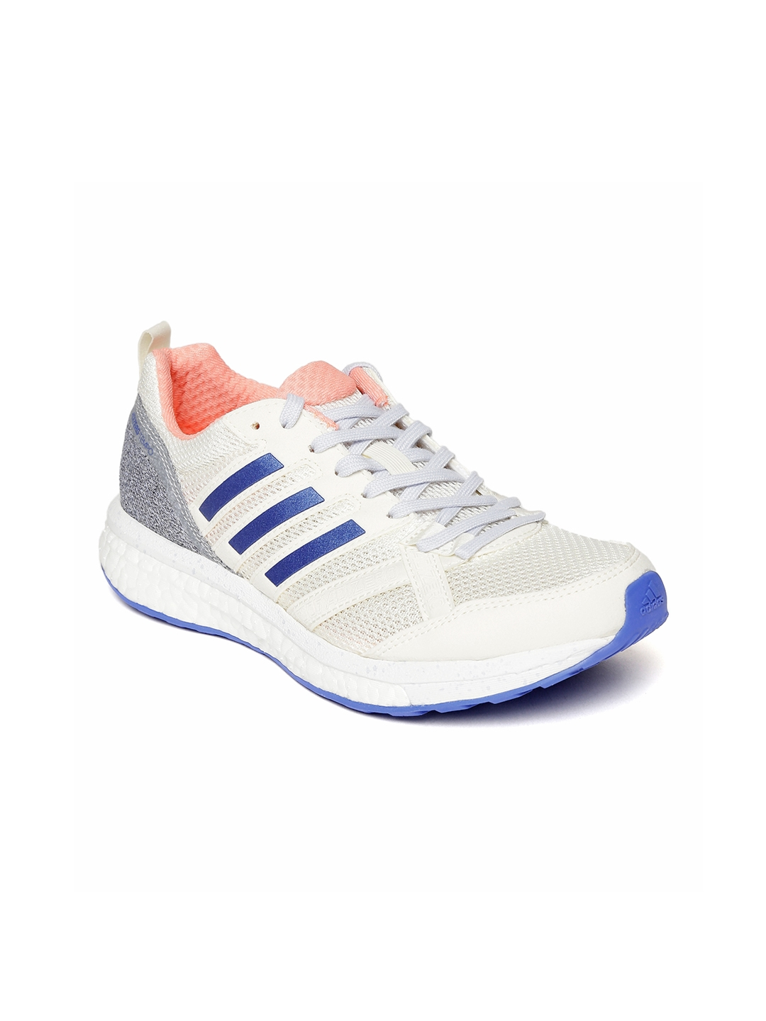 online store c8ae8 a92a9 Adidas Women White ADIZERO TEMPO 9 Running Shoes
