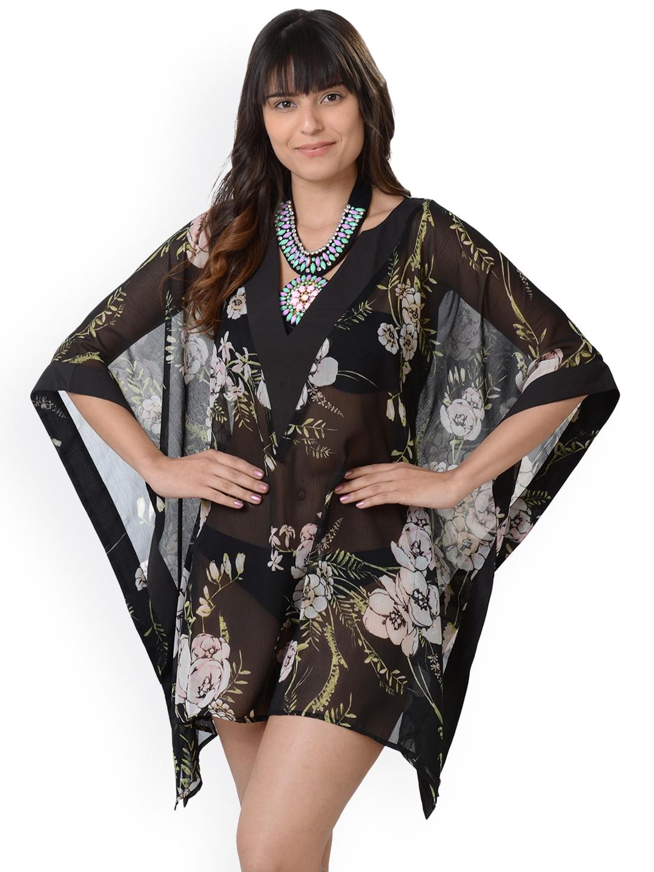 a47ee770fc570 Buy Da Intimo Women Black Printed Kaftan Cover Up Swimwear ...
