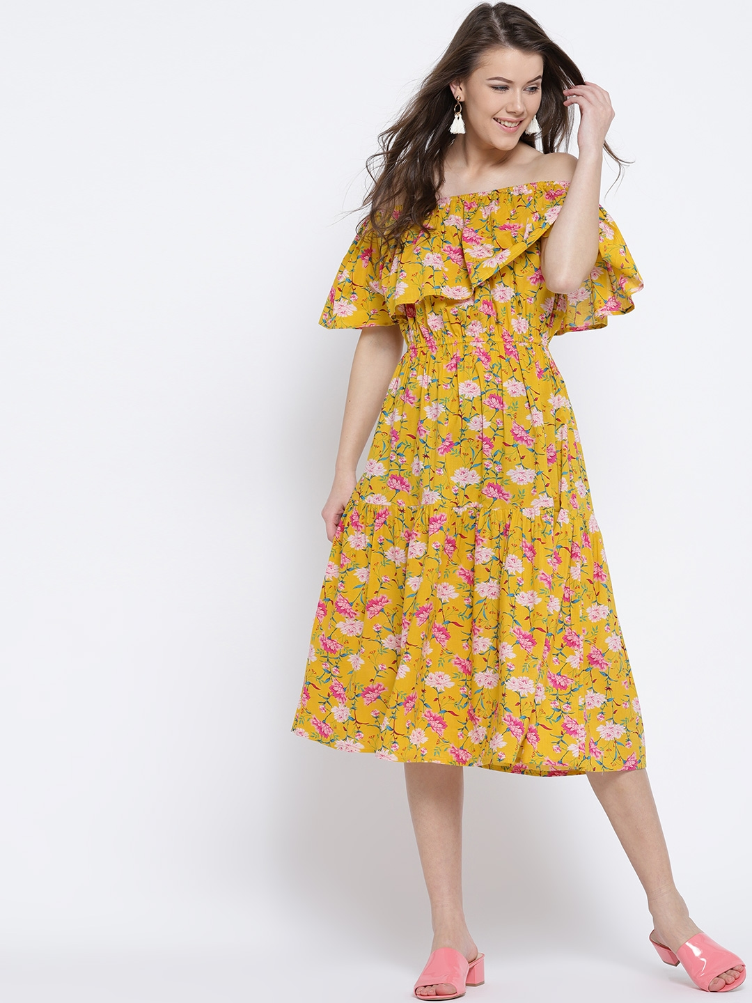 a9dec1db6071 Buy Sera Women Yellow   Pink Printed Off Shoulder Midi Fit   Flare ...