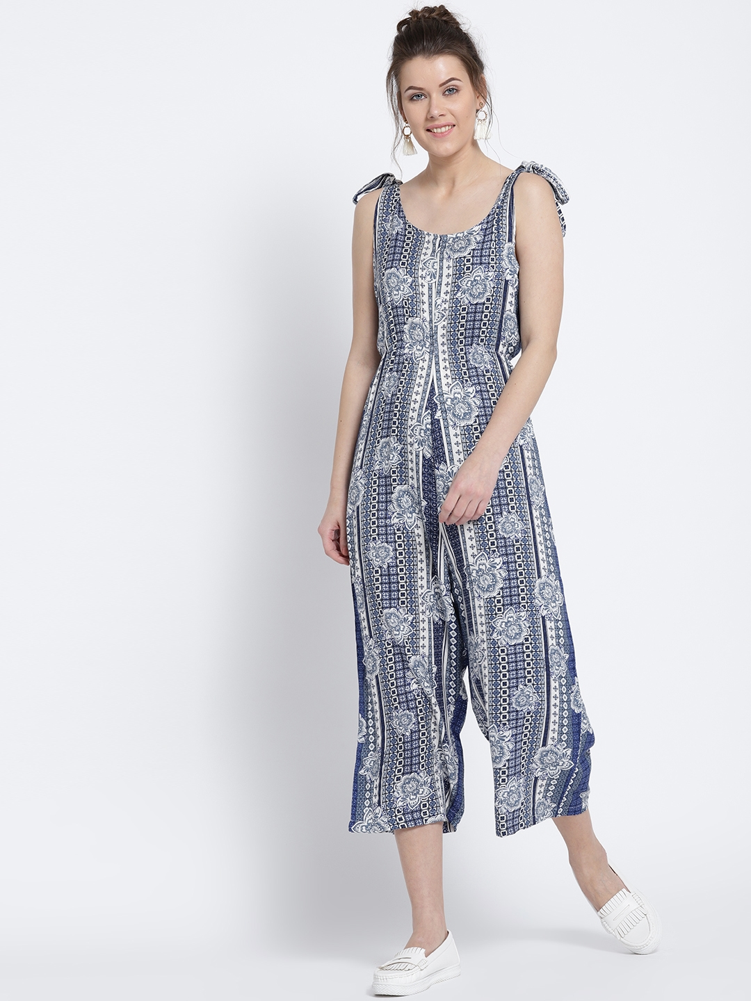 3260bcba876 Buy Sera Navy   White Printed Culotte Jumpsuit - Jumpsuit for Women ...