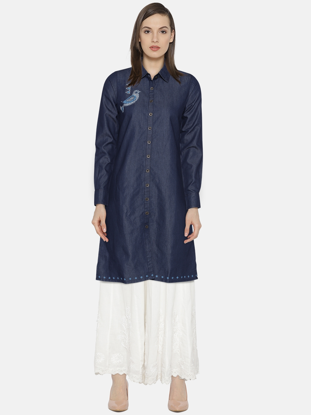 Buy Global Desi Women Blue Solid Chambray Shirt Dress Dresses For