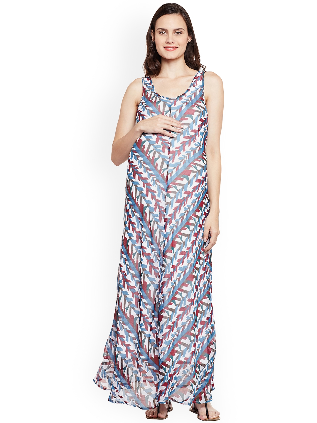 0455a583b07 Buy Oxolloxo Women White Printed Maternity Maxi Dress - Dresses for ...