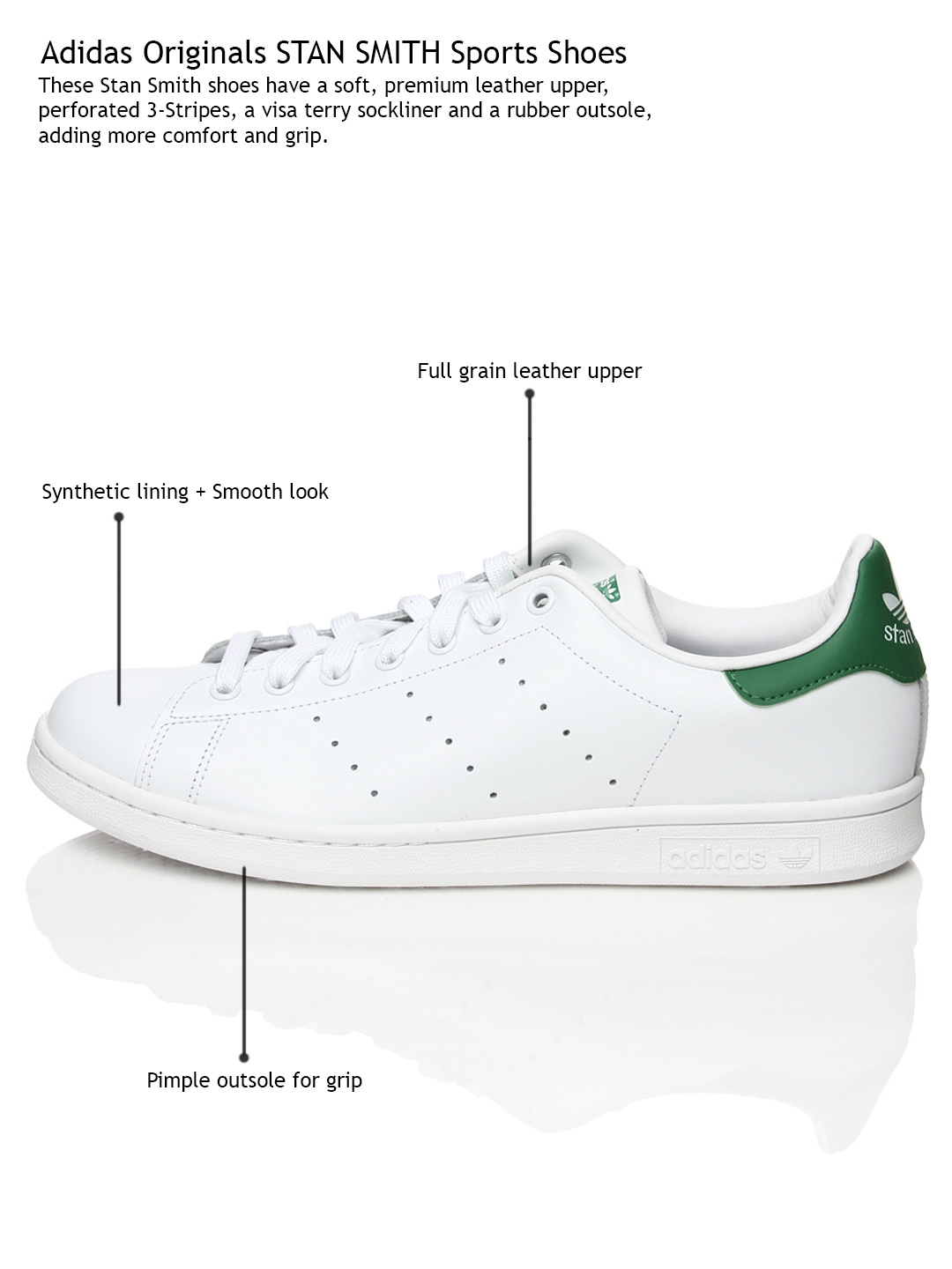 f2fe9c4a3086f4 Buy ADIDAS Originals Men White   Green Stan Smith Casual Shoes ...