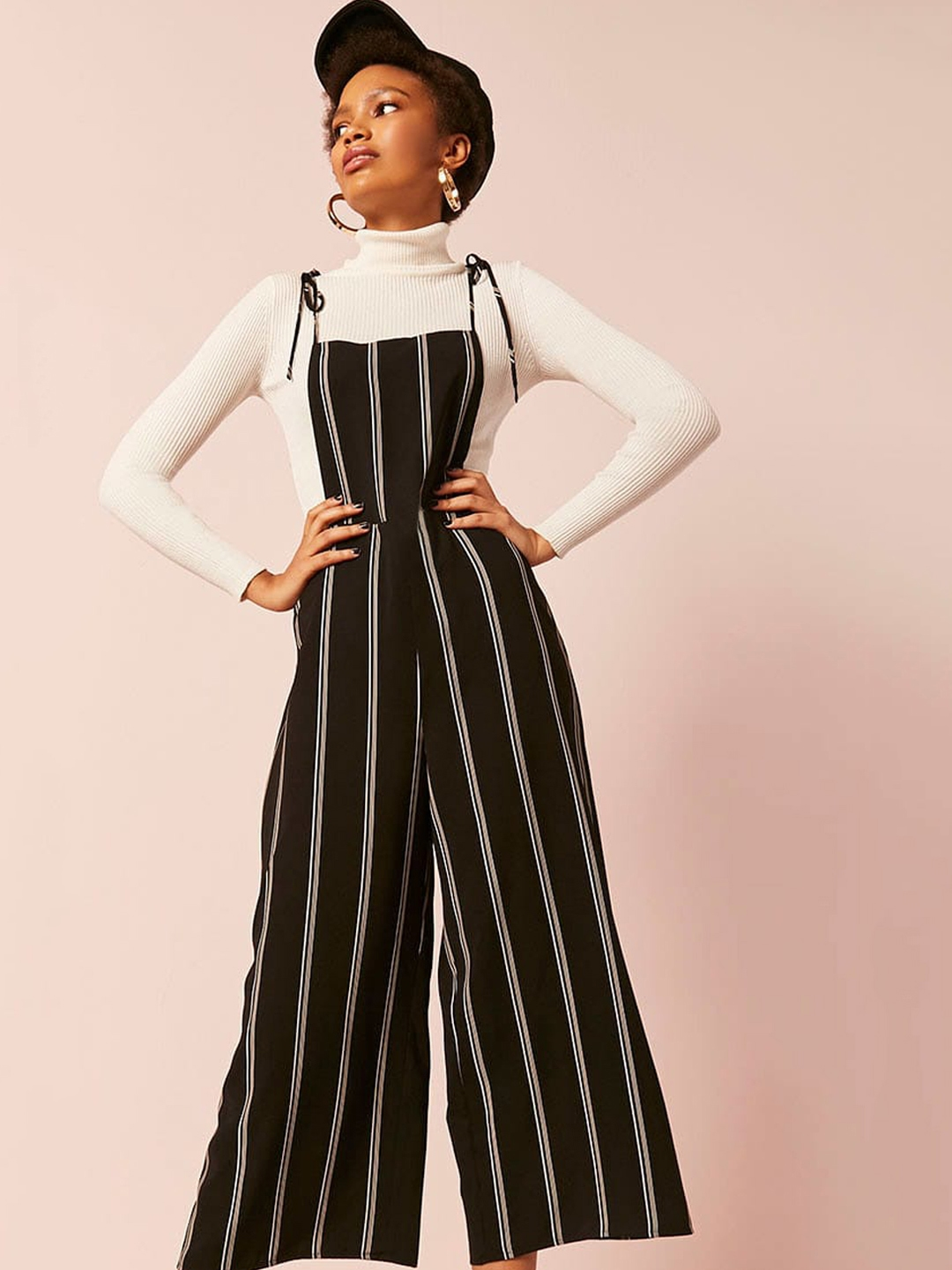 00fdc367cf9 Buy FOREVER 21 Black   White Striped Culotte Jumpsuit - Jumpsuit for ...