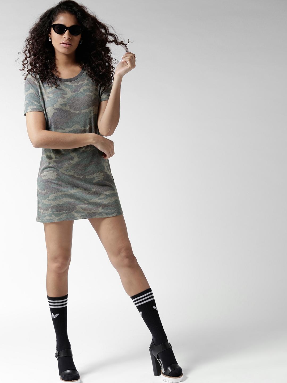 408285ac07 Buy FOREVER 21 Women Grey Camouflage Print T Shirt Dress - Dresses ...