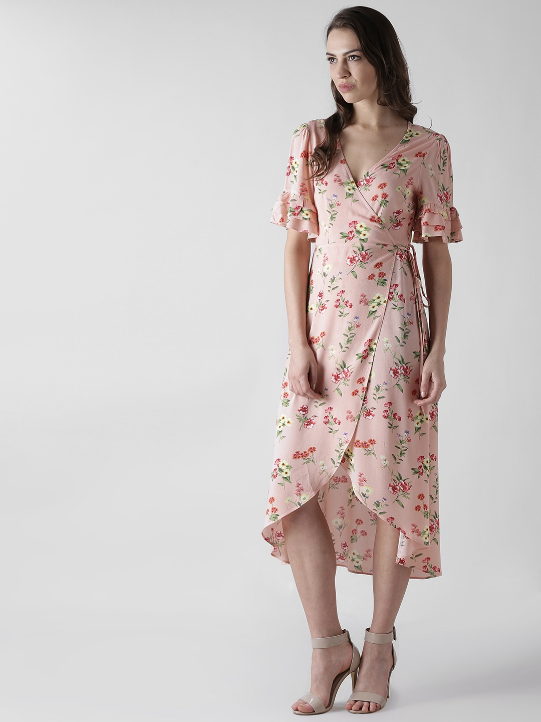 df2fab73dd85 Buy FOREVER 21 Women Pink Floral Print Wrap Dress - Dresses for ...