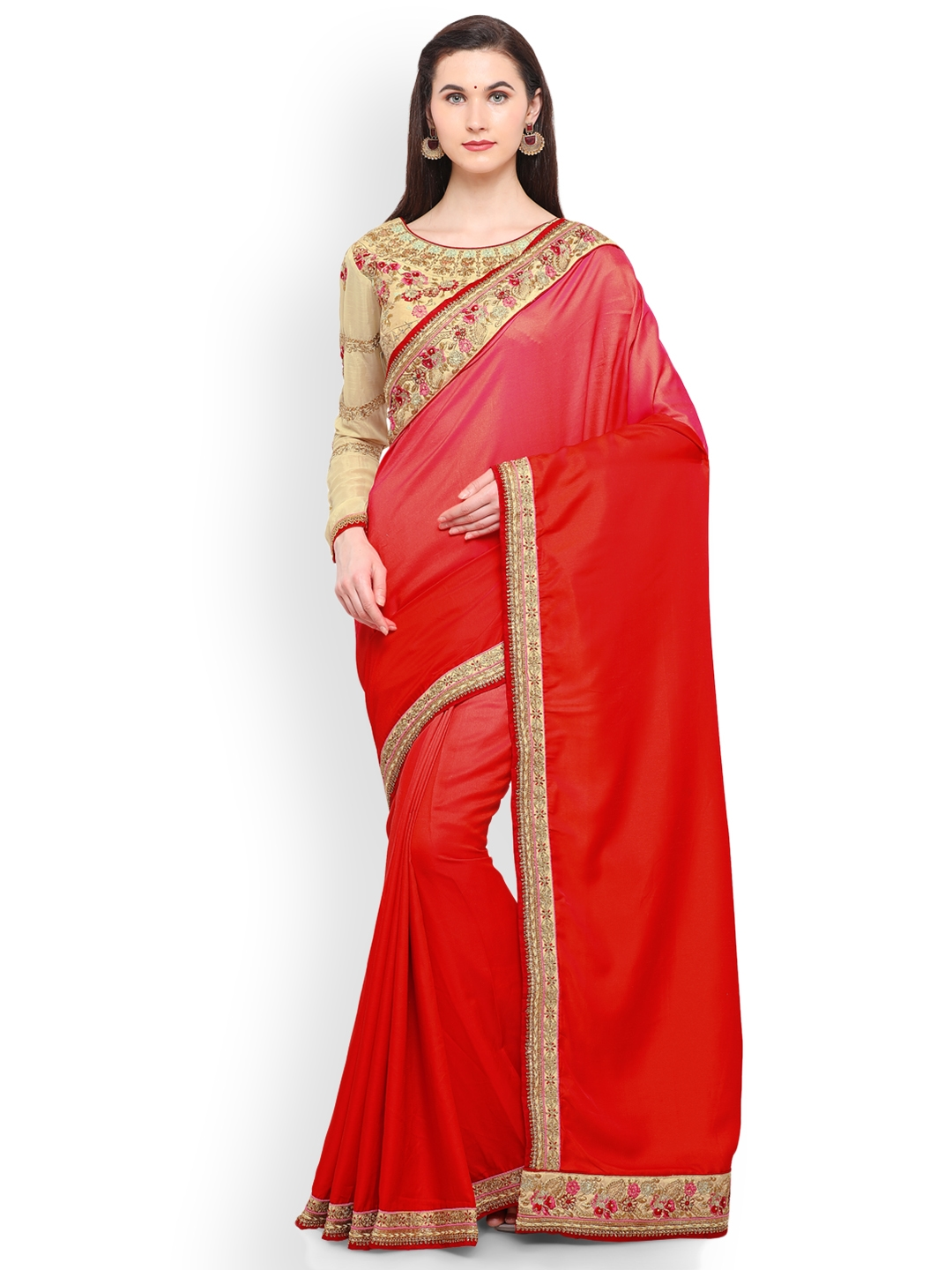 963cb1768ff Buy RIYA Red   Gold Toned Poly Silk Embroidered Saree - Sarees for ...