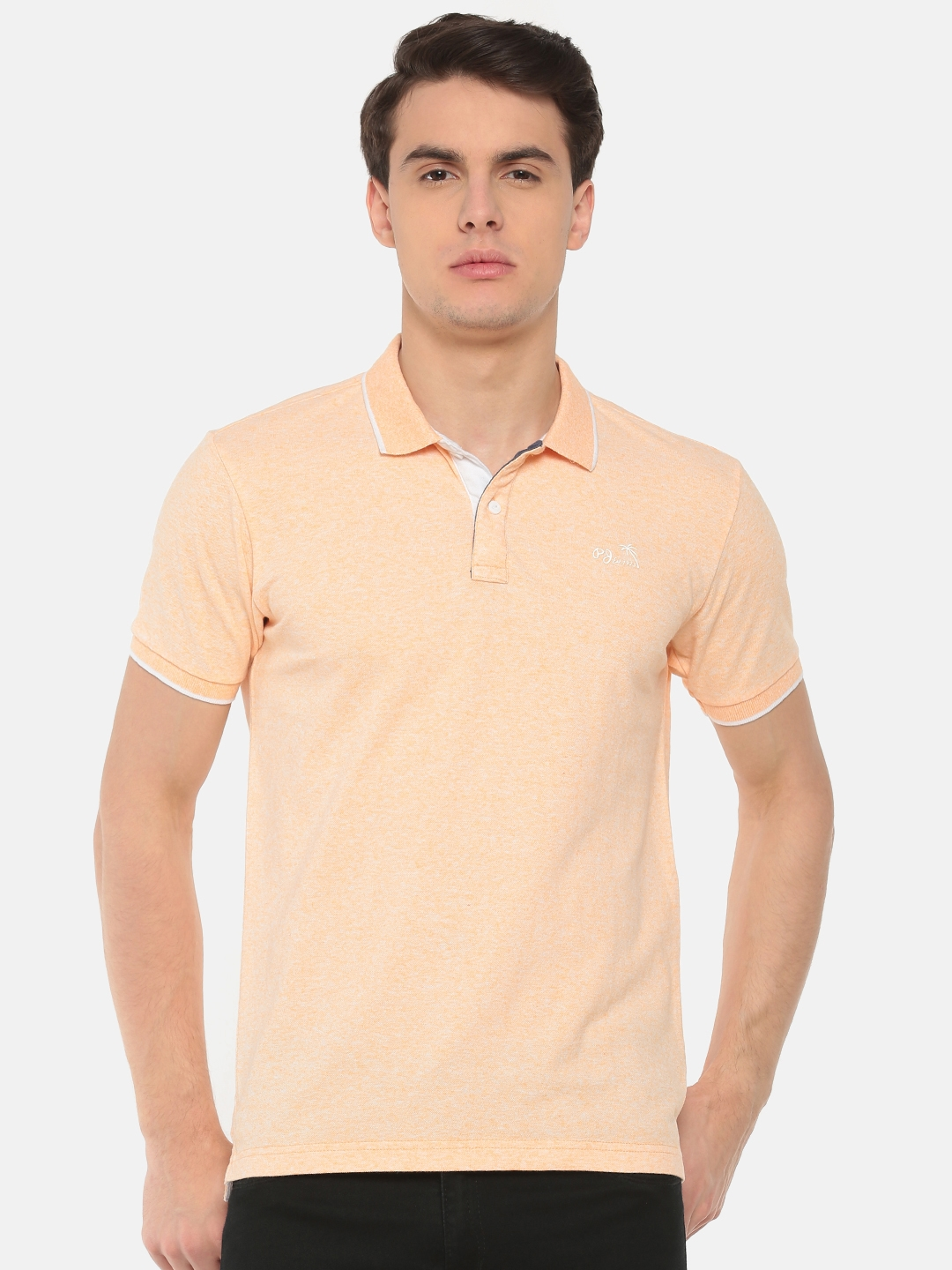 118024d84 Pepe Jeans Men Peach-Coloured Solid Polo Collar T-shirt