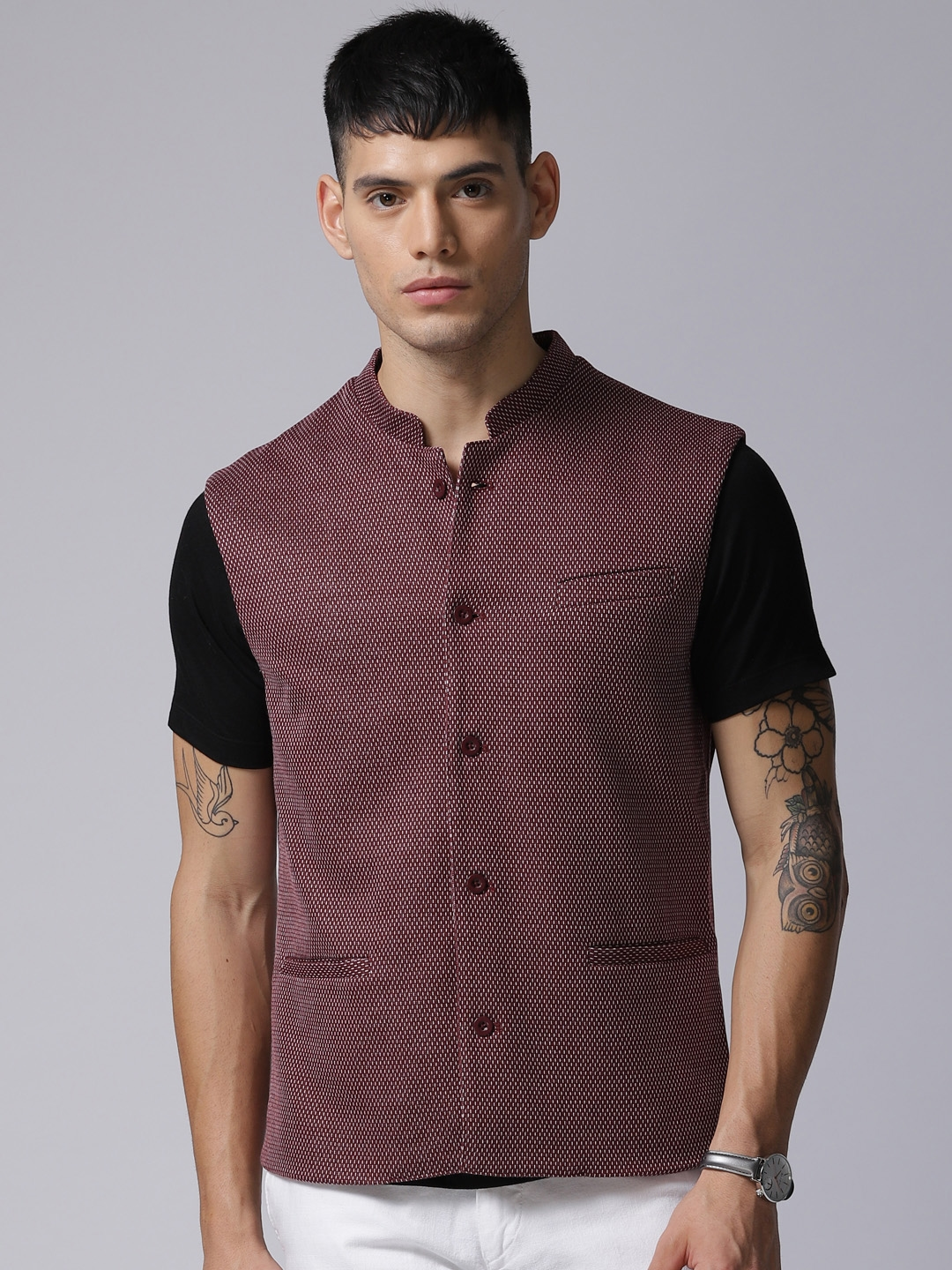dc0b5b8300 Buy True Blue Men Maroon Self Design Nehru Jacket - Nehru Jackets ...