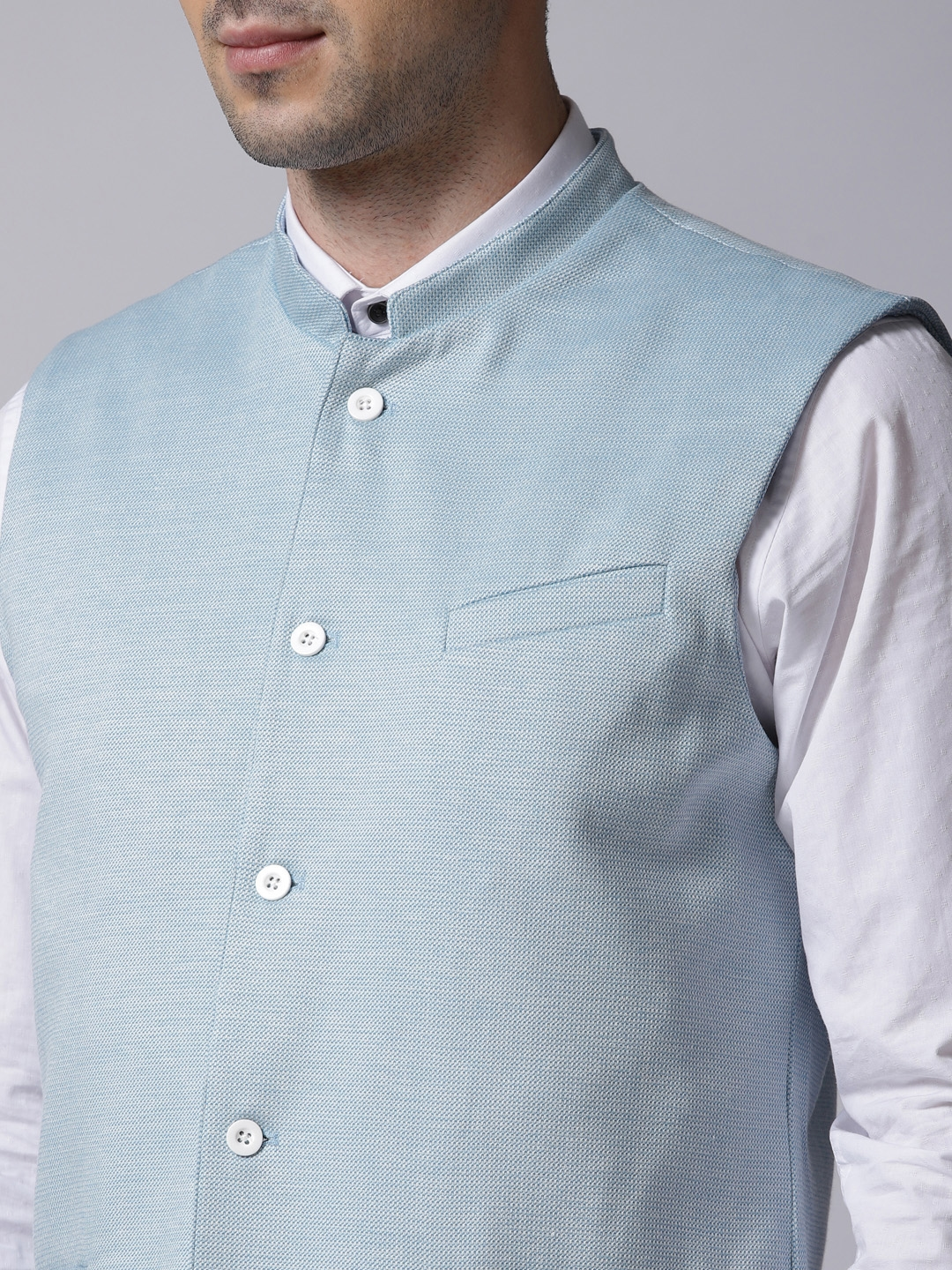 cdd49cd60d Buy True Blue Men Blue Self Design Nehru Jacket - Nehru Jackets for ...