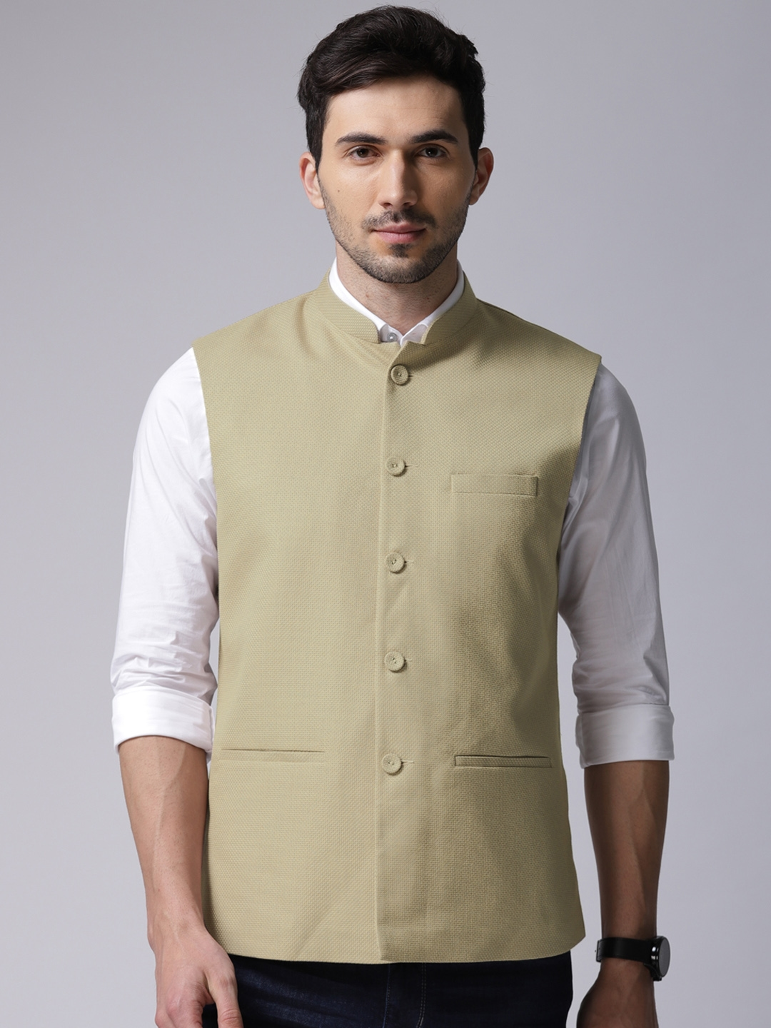 9e5606aa20 Buy True Blue Men Beige Self Design Nehru Jacket - Nehru Jackets for ...