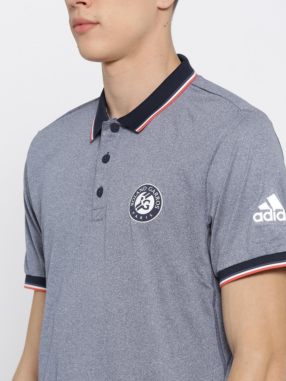 1198b886 Buy Adidas Men Blue Roland Garros Self Design Tennis Polo T Shirt ...