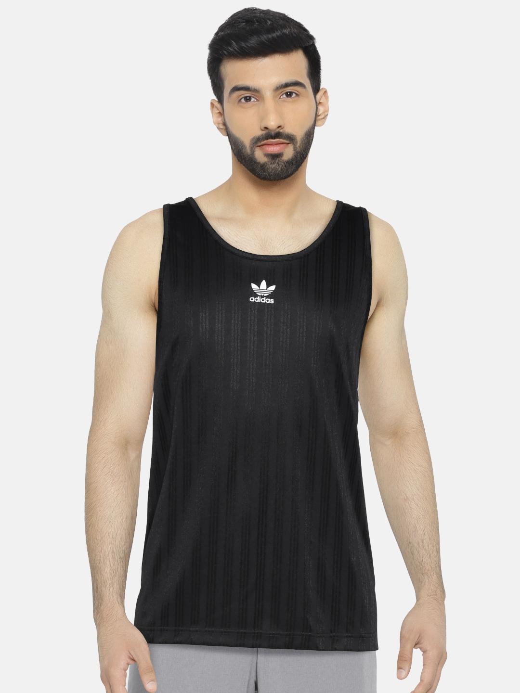 87766341ae96 Buy ADIDAS Originals Men Black Football Tank Self Striped T Shirt ...