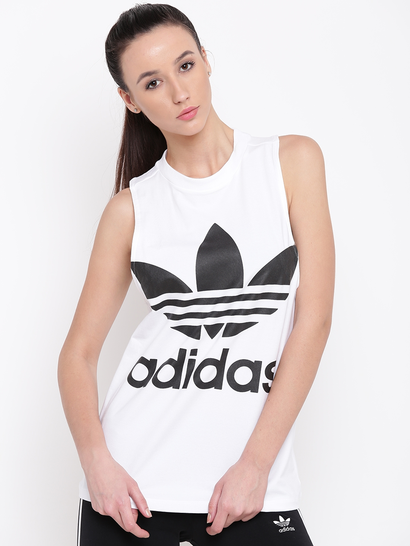 309147ceec79 Buy ADIDAS Originals Women White   Black Trefoil Print Tank Top ...