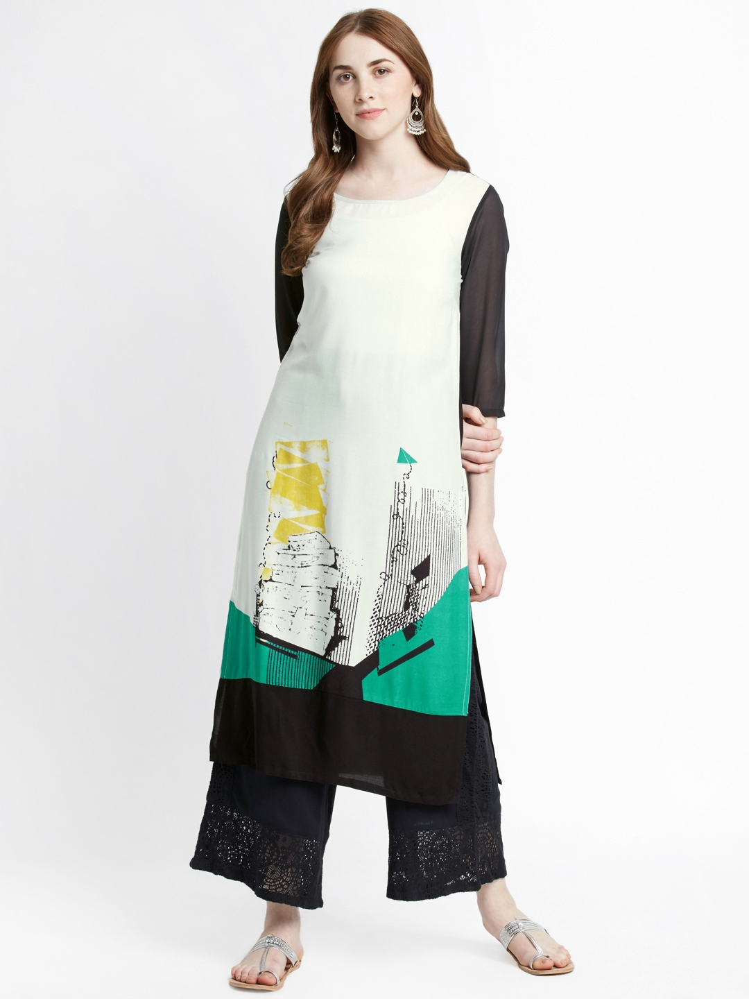 decaa24e8 Buy RANGMANCH BY PANTALOONS Women Off White   Black Printed A Line ...