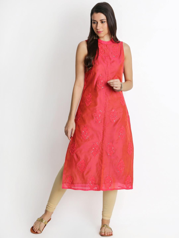 b3c6671db Buy TRISHAA BY PANTALOONS Women Pink Embroidered Straight Kurta ...
