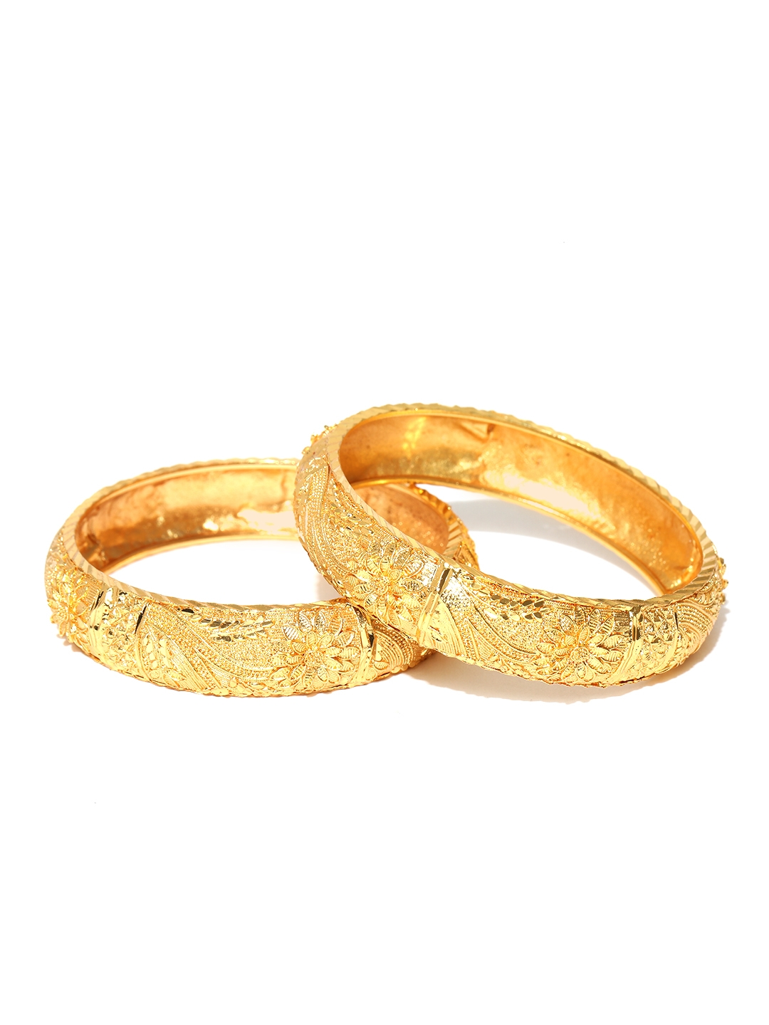 Jewels Galaxy Set of 2 Gold Toned Textured Bangles