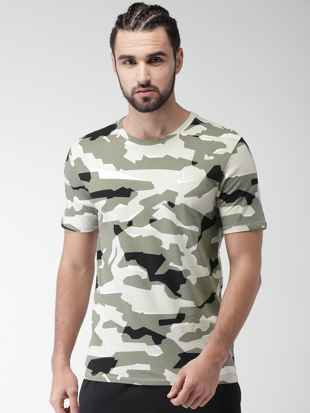 5984fe42 Buy Nike Men Olive Green & Black Printed AS NSW CAMO PACK 1 Round Neck T  Shirt - Tshirts for Men 4029260 | Myntra