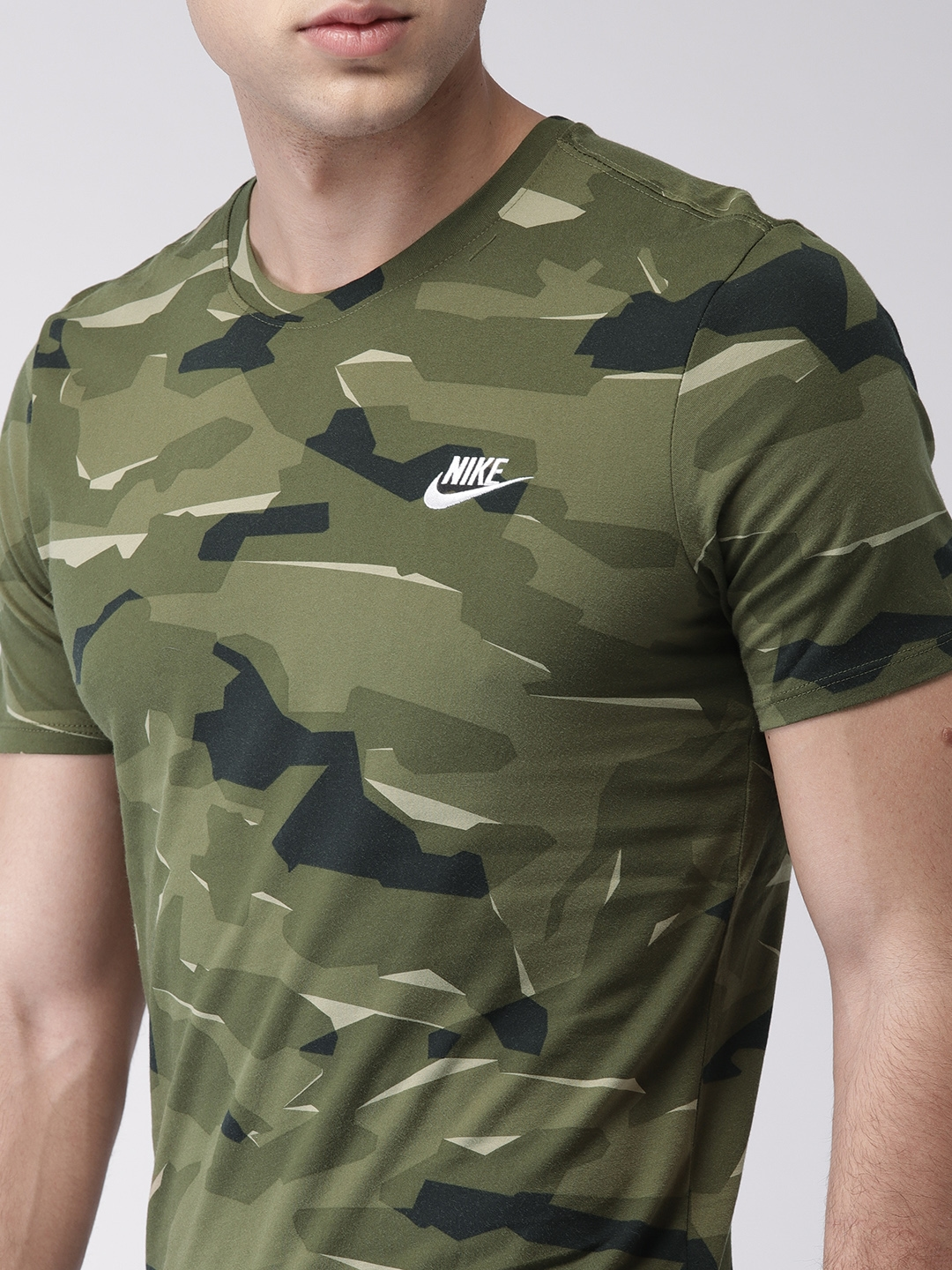 e10b9ab6 Buy Nike Men Olive Green Camouflage Print AS M NSW TEE CAMO PACK 1 T ...