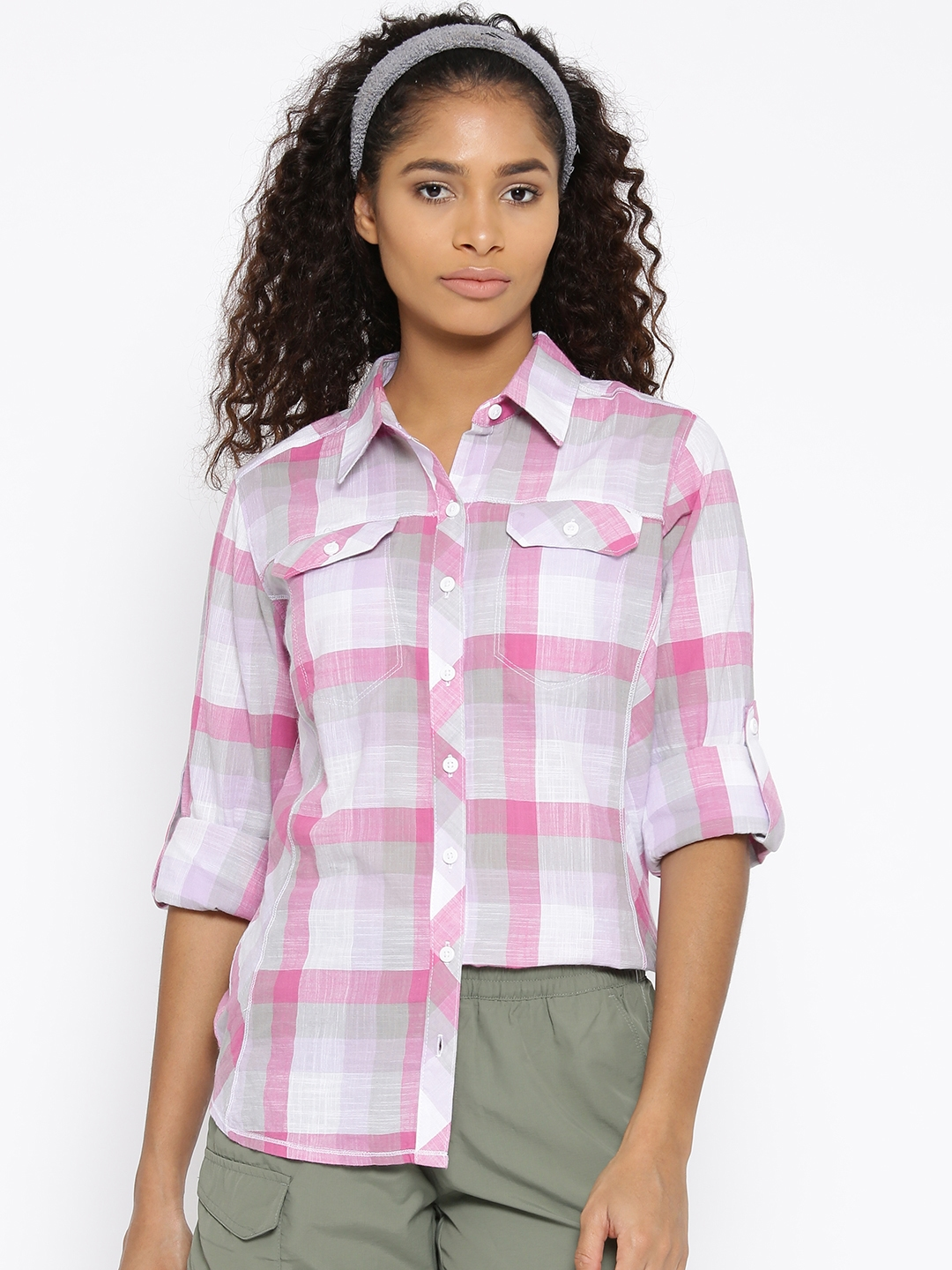 e4dfc3fc227 Buy Columbia Pink & Off White Camp Henry Long Sleeve Checked Outdoor ...